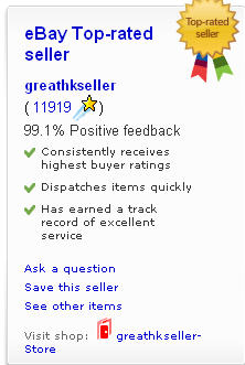 greathkseller Top Seller eBay Award