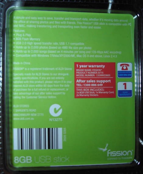 Fission 8GB Aldi Back