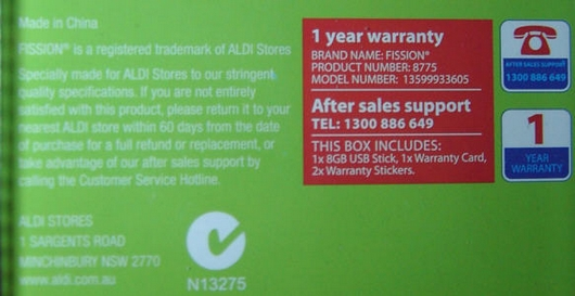 Fission 8GB Aldi Details 8775