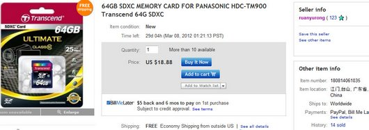 64GB SDXC MEMORY CARD FOR PANASONIC HDC-TM900 Transcend 64G SDXC