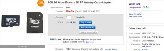 8GB 8G MicroSD Micro SD TF Memory Card+Adapter