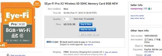 $Eye-Fi Pro X2 Wireless SD SDHC Memory Card 8GB NEW